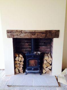New Living Room Rustic Fireplace Log Burner Ideas Wood Burner Fireplace, Rustic Fireplaces, Fireplace Hearth, Fireplace Ideas, Small Fireplace, Concrete Fireplace, Modern Fireplace, Airstone Fireplace, Brick Hearth