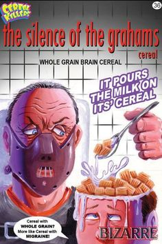 Pictures of the breakfast-themed horror trading cards from artist Joe Simko. They're a bowl lotta fun! Buy Cereal Killers cards at www.Wax-Eye.com. The Swe