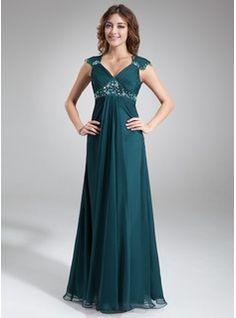 A-Line/Princess V-neck Floor-Length Chiffon Mother of the Bride Dress With Ruffle Lace Beading (008005696) - JJsHouse