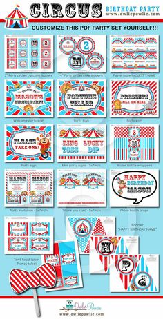 Vintage Circus BIRTHDAY Party Printable Package & by OwliePowlie