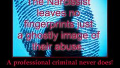 Narcissist's NEVER leave fingerprints on their victims,  just a ghostly image of their abuse!