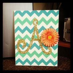 DIY chevron canvas with glitter initial. so adorable! I would take off the flower though, or maybe just put it in the corner of the canvas or something.