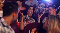 Woman screams scaringly in Cinema.