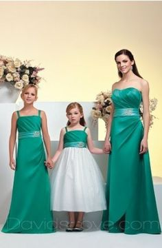 A-Line Strapless Long Satin Bridesmaid Dress