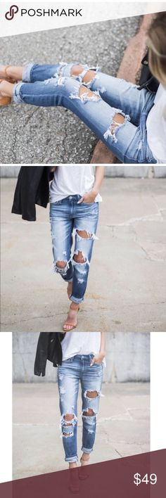 """Dakota Distressed Boyfriend Jeans BEST SELLING BOYFRIEND JEANS👖❤The perfect medium wash with on trend distressing, a relaxed fit and easily cuffed style. The frayed mid rise fit of this denim makes them chic with heels or sneakers. Easily roll them or wear them longer. Made from our best selling brand, these divinely soft, stretchy.   Inseam to hem length on a size 1 measures 29"""" with cuff unfolded True to size with stretch. Size up if you would like a looser fit.   73% Cotton and 27%…"""