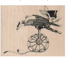 Conejo gigante en monociclo sello steampunk Estilo diseñador María Vogel Lozinak