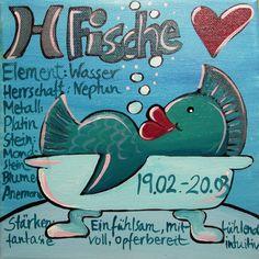 Gemalte Sternzeichen - Bilder - Fische von Maren Schmidt auf DaWanda.com