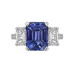 Betteridge 5.02 Carat Violet Sapphire and Diamond Ring | From a unique collection of vintage three-stone rings at https://www.1stdibs.com/jewelry/rings/three-stone-rings/