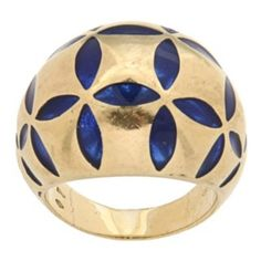 Antonini 18k Yellow Gold Blue Enamel Estate Cocktail Ring.