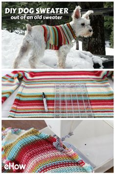How to Turn an Old Sweater into an Adorable Dog Sweater Use an old sweater in your closet and upcycle it into the perfect winter wear for your fury friend! Keep them warm and stylish with this easy DIY! Dog Sweater Pattern, Dog Pattern, Dog Coat Pattern Sewing, Sweater Patterns, Old Sweater, Dog Sweaters, Pullover Upcycling, Alter Pullover, Dog Clothes Patterns