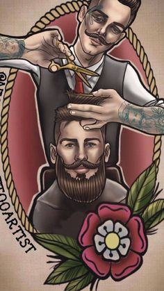 39 Ideas tattoo hombre tat hair for 2019 Barber Sign, Barber Shop Decor, Hipster Wallpaper, Trendy Wallpaper, Watercolor Wolf Tattoo, Stylish Photo Pose, Barber Tattoo, Wolf Tattoo Sleeve, Master Barber