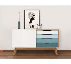 Woodman - Avon Skjenk m/fargede skuffer - Spruse Painted Sideboard, Sideboard Furniture, Painted Doors, Credenza, Office Furniture, Painting Melamine, Buffet Design, Ikea, Unusual Furniture