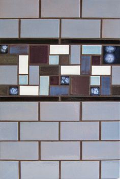 "Mercury Mosaics | 2""x4"" Subway Tile - 20 Light Blue / 1/2""x6"" Flat Liner - 613 Black / Savvy Squares - Moody Blues Blend"
