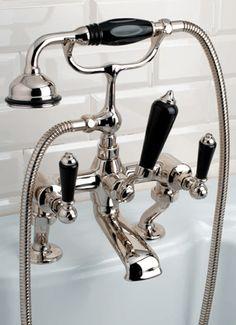 Gruppo vasca 'Black Dandy', Nickel Plated Tub and Shower Fixture, by Devon and Devon Medio.