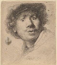 Rembrandt van Rijn, 1606 - 1669  Autoportrait au chapeau, la bouche ouverte, 1630