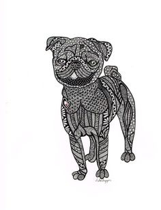 Abstract drawing using pen. Prints are 8 x 10.    This pug was drawn for my daughter. She loves pugs and I found this to be quite challenging,