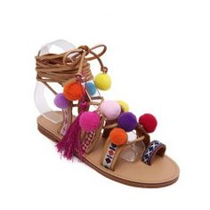 SHARE & Get it FREE | Rome Style Cross Straps and Pompon Design Sandals For…