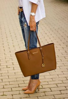 Greg. In black! Michael Kors Camel Chic Leather Large Tote