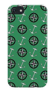 Anchors and Compass Nautical Pattern iPhone SE Case @redbubble