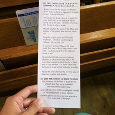 What one Catholic church puts in their pews regarding children. Awesome! It needs to be in every church!