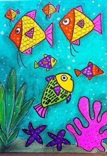 43 Trendy canvas art for kids to paint projects Art Drawings For Kids, Easy Drawings, Art For Kids, Drawing Ideas, Sea Art, Fish Art, Art Plastique, Elementary Art, Teaching Art