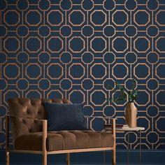 Sashiko by Graham & Brown - Navy - Wallpaper : Wallpaper Direct Bathroom Wallpaper Navy, Navy Wallpaper, Blue Wallpapers, Geometric Wallpaper Living Room, Blue And Gold Wallpaper, Large Geometric Wallpaper, Livingroom Wallpaper Ideas, Living Room Wallpaper Accent Wall, Dinning Room Wallpaper