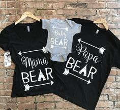 Mama Bear + Papa Bear + Baby Bear Shirts. Mama Bear, Papa Bear & Baby Bear Shirts. Bear Family Shirts. Baby Shower Gift. Baby Announcement by FreeSpiritInk on Etsy