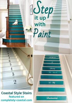 Paint Stair Riser and/or Steps to give a Staircase a cool Coastal Nautical Beach Vibe. These Creative Blue Painted Staircases will Inspire you. Featured on Completely Coastal. Paint Stair Runner Design, add Decals, or try a Painting! Painted Stair Risers, Painted Staircases, Spiral Staircases, Beach House Decor, Beach Houses, Home Decor, Staircase Design, Staircase Decals, Modern Staircase