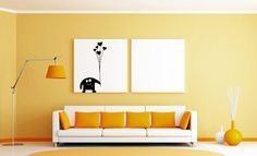 Living Room, Orange Accent Wall White Fabric 3 Seater Sofa Orang Cushions Modern Metal Arch Lamp Two White Picture Frames Round Orange Area Rug Orange Flower Vase: 8 Best Living Room Color Pattern Ideas