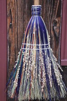 Make a beautiful besom, or broom, out of twigs and dowels. Your Wiccan friends will love this thoughtful gift. Broom Corn, Witch Broom, Witch Wand, Witch Spell, Which Witch, Wiccan Crafts, Practical Magic, Kitchen Witch, Book Of Shadows