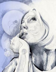 Stacy King by Paul Clay, via Behance   - start portraits as contour and value edges, add in ink wash, then fine line detail over all