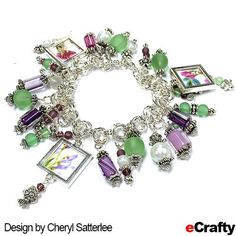 Bracelet DIY TUTORIAL: Cheryl was inspired by pictures of California wildflowers for this bracelet. She combined eCrafty.com's chain maille charm bracelet base with our Purple Passion Cane Glass Beads and green sea glass beads.  For instructions, clickable supply list & links, read on! #ecrafty #caneglass #seaglass #beads #crafts #diybracelet #chainmaille #tutorial #charms #diycharmbracelet #customcharms #diycharms #bracelettutorial