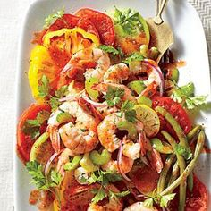 Bloody Mary Tomato Salad with Quick Pickled Shrimp Recipe | MyRecipes.com