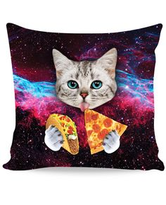 Check out the all-over print Taco Cat Couch Pillow from our Classics brand! This fully sublimated throw pillow features a cute cat with blue eyes eating tacos and pizza in space! Get this vibrant high-quality kitten design for your home, apartment, or college dorm now. Production Time: 2-7 business days Shipping: USA: 4-10 business days International: 7-20 business days One Size Height 13 Width 13 *Sizes are in Inches