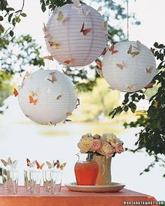 Paper Lanterns (Best Ideas) Party Theme- Fairy Inspiration, Garden Theme or Butterfly Theme.Party Theme- Fairy Inspiration, Garden Theme or Butterfly Theme. Butterfly Birthday Party, Butterfly Wedding, Garden Birthday, Butterfly Garden Party, Wedding Flowers, Fairy Birthday, Wedding Bouquet, Wedding Colors, Wedding Dresses
