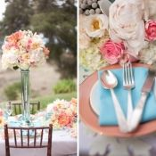 Coral & Soft Teal Flowers