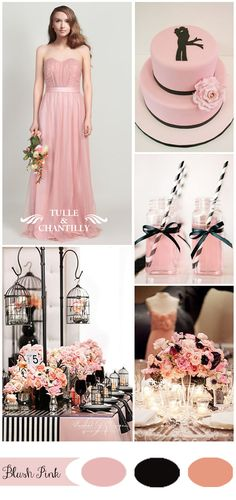 blush pink and black wedding ideas and elegant blush bridesmaid dresses