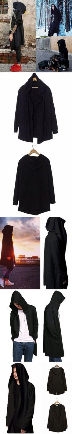 Men Casual Solid Cool Daily Long Sleeve Hoodies Sweatershirt Warm Men's Hooded Cardigan Long Cloak Cape Poncho Hip-hop