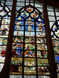 Shown here is a stained glass window inside the Vitraux de l'église Sainte-Jeanne d'Arc.