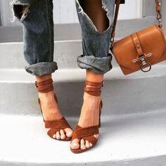 denim + heels.