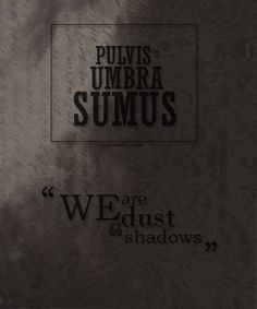 We are dust and shadows in Latin.