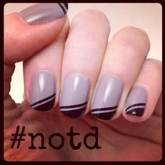 Diagonal tip nails with black and grey