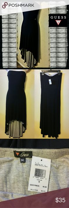 """Guess Strapless Maxi Dress New With Tags! Hi-Lo black maxi dress by Guess. Thick and stretchy cotton material and very flowy. Inside log fabric is heather grey, outside is black. Size Medium. 46"""" long in back, front is 29"""", 14"""" across very top. Hidden elastic band at top and waist. Metal Guess tag on lower front of top.  #guess #guessdress #maxidress #hi-lodress #highlowdress Guess Dresses Strapless"""