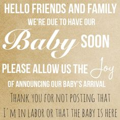 This is awesome...wish i had this...i had visitors taking pix and posting them before i even left the hospital and before i even knew they had done this...have some respect for the new parents. Birth announcement Facebook etiquette