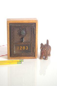 1950's Post Office Box Grecian Design Antique Lock Box in Custom Built Oak Wooden Box