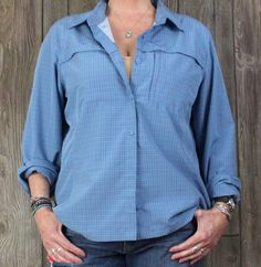 LL Bean XL size Blouse Blue Gray Plaid Outdoor Top Womens Hiking Travel Shirt