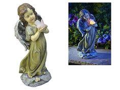 Solar Powered Angel Holding Dove Garden Statue Led Light Outdoor Decor Statues #SolarPoweredAngelHoldingDoveLedLight