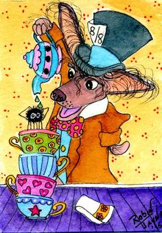 NFAC August Tea Time Chinese Crested by Robin Jayne #OutsiderArt