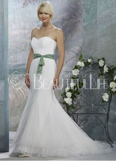 $153.49 Lovely Satin Sweep Train Natural #Strapless #Wedding #Dress With Sash