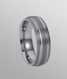 Brilliant and elegant. 7MM WideTungsten Carbide Band features two grooved lines with polished shiny for a special look.